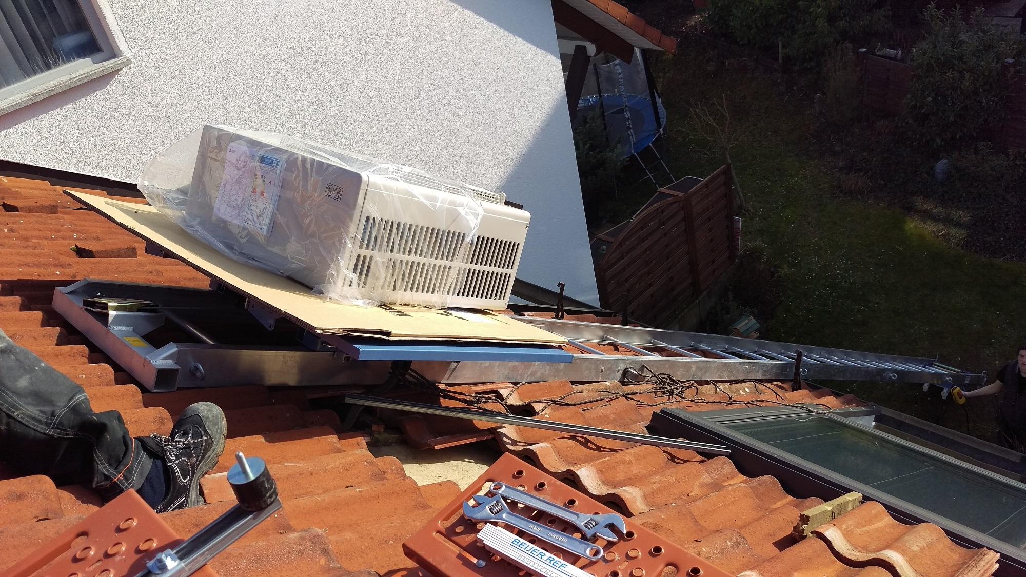 Einsatz dachlift f r klimaanlagen bis 250kg ab 4m bis 15m for Klimaanlage inkl montage